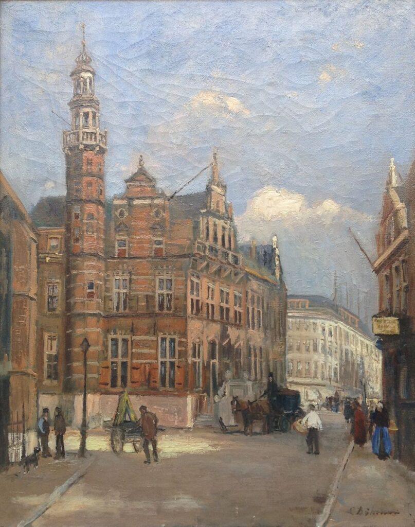 Kunstenaar Chris Dijkman A9671, C.H. Dijkman  Stadhuis den Haag  olie op doek, 65 x 51 cm  verkocht