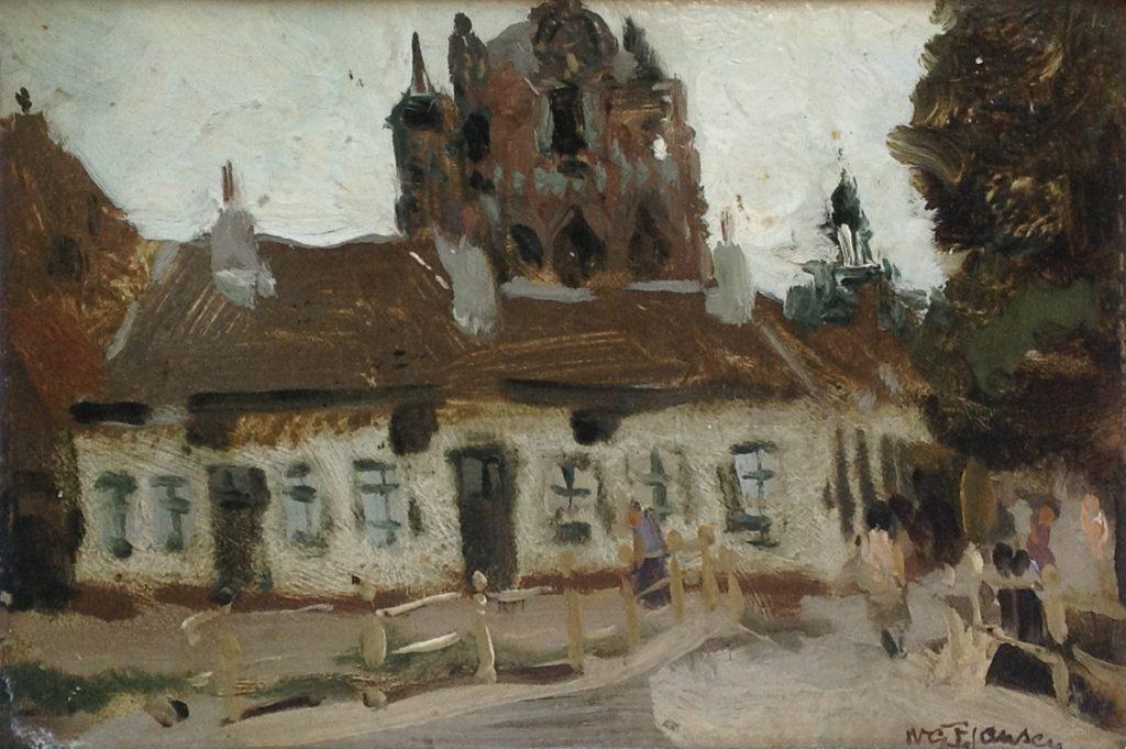 Schilderijen te koop bij Galerie Wijdemeren van kunstschilder W.G.F. Jansen Dorpsgezicht olie op board, 15 x 21.5 cm rechtsonder gesigneerd