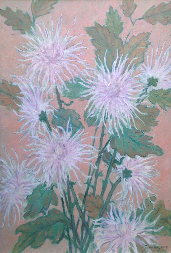 Kunstenaar Jacques van Meegeren A9797, J. van Meegeren Roze Chrysanten Olie op doek