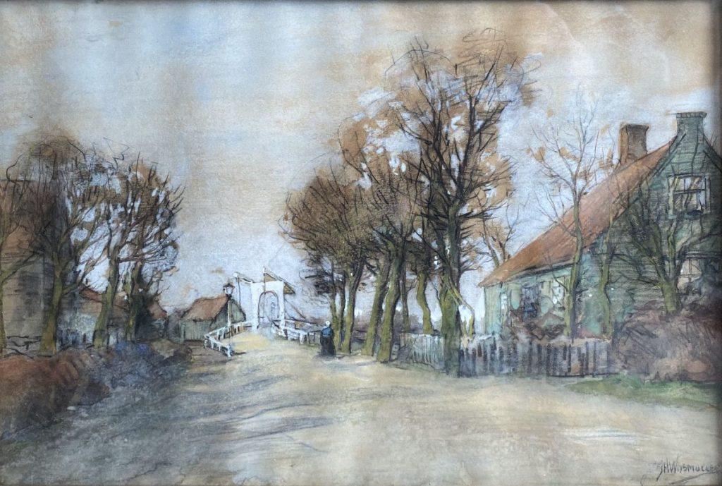 Schilderijen te koop van kunstschilder JH Wijsmuller aquarel, beeldmaat 24 x 35 cm rechtsonder gesigneerd, Expositie Galerie Wijdemeren Breukeleveen