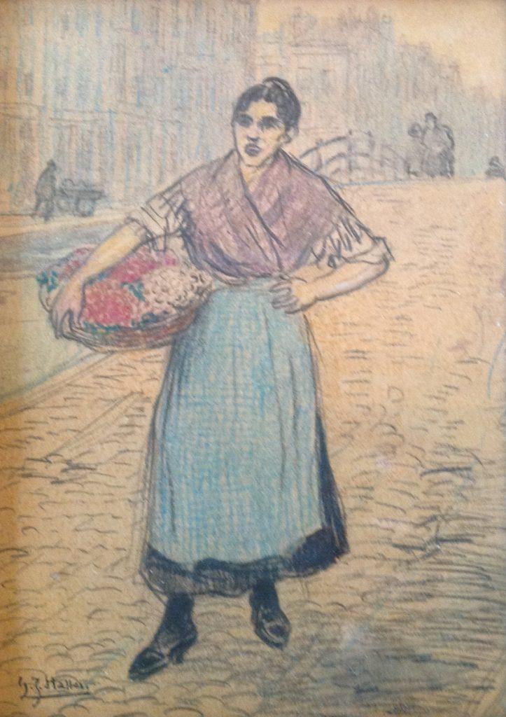 Kunstenaar Gerard Johan Staller A9874, G.J. Staller tekening, 15,5 x 11,5 cm Verkocht