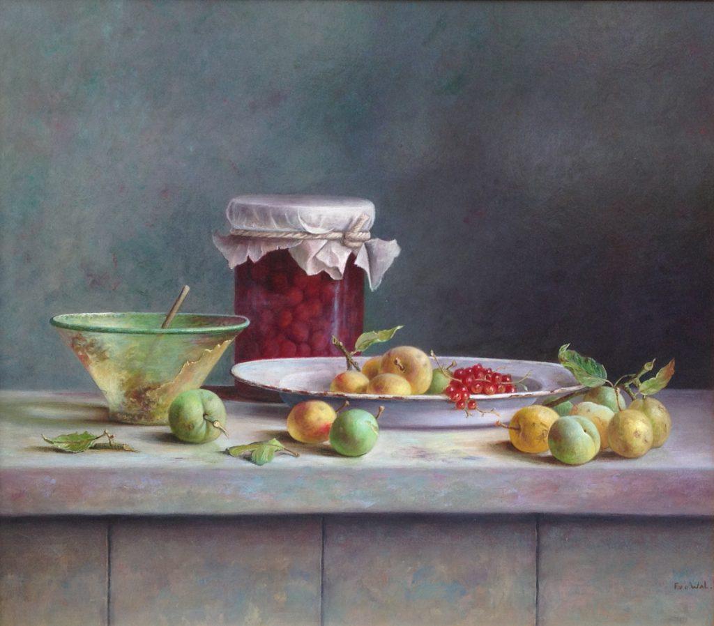 Kunstenaar Frans van de Wal A9883 Frans van de Wal Stilleven met fruit olie op paneel, paneelmaat 60 x 70 cm verkocht