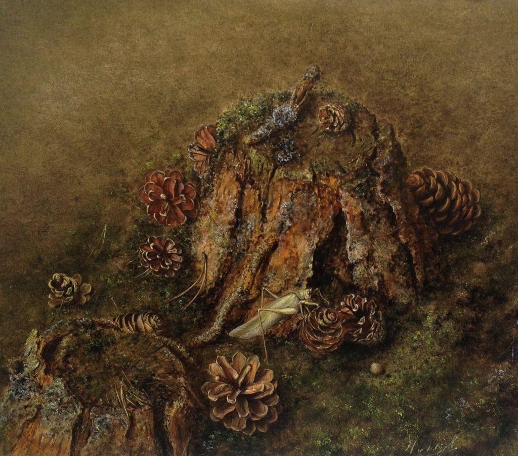 Schilderijen te koop van kunstschilder Hans H.J. van Wijk Dennenstronk olie op board, boardmaat 27 x 31 cm gesigneerd, Expositie Galerie Wijdemeren Breukeleveen