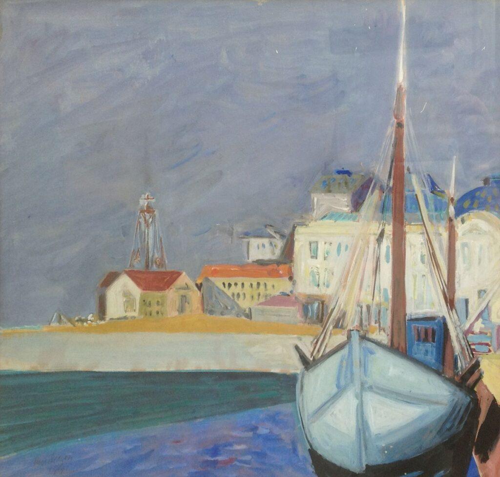Schilderijen te koop van kunstschilder Frederik Sieger Bootjes in een Mediterraanse haven Aquarel, beeldmaat 43 x 47 cm, Expositie Galerie Wijdemeren Breukeleveen