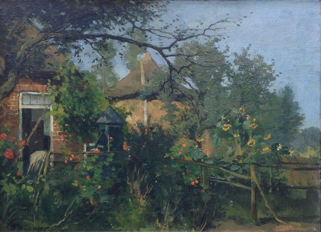 Schilderijen te koop van kunstschilder Johannes Ernst Baumer boerderij, begin 1900 Olie op doek, doekmaat 30 x 40 cm Linksonder gesigneerd, Expositie Galerie Wijdemeren Breukeleveen
