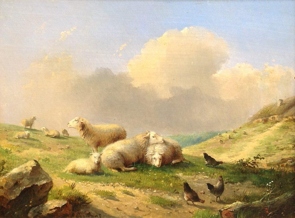 Kunstenaar Auguste Coomans A9973, Auguste Coomans 'Landschap met schapen' Olie op paneel Beeldmaat: 23,5 cm x 32 cm