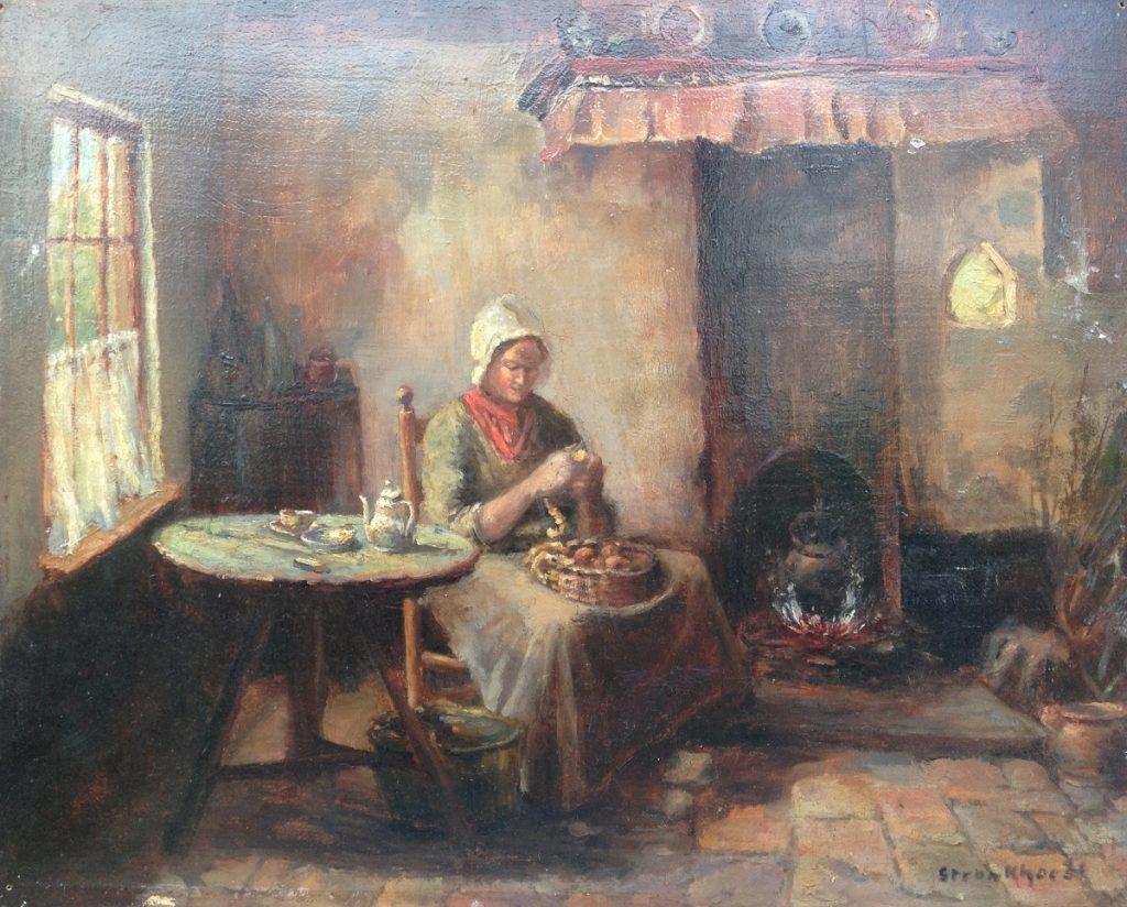 Kunstenaar B.J. Stronkhorst A9978, B.J. Stronkhorst olie op paneel, 32 x 40 cm