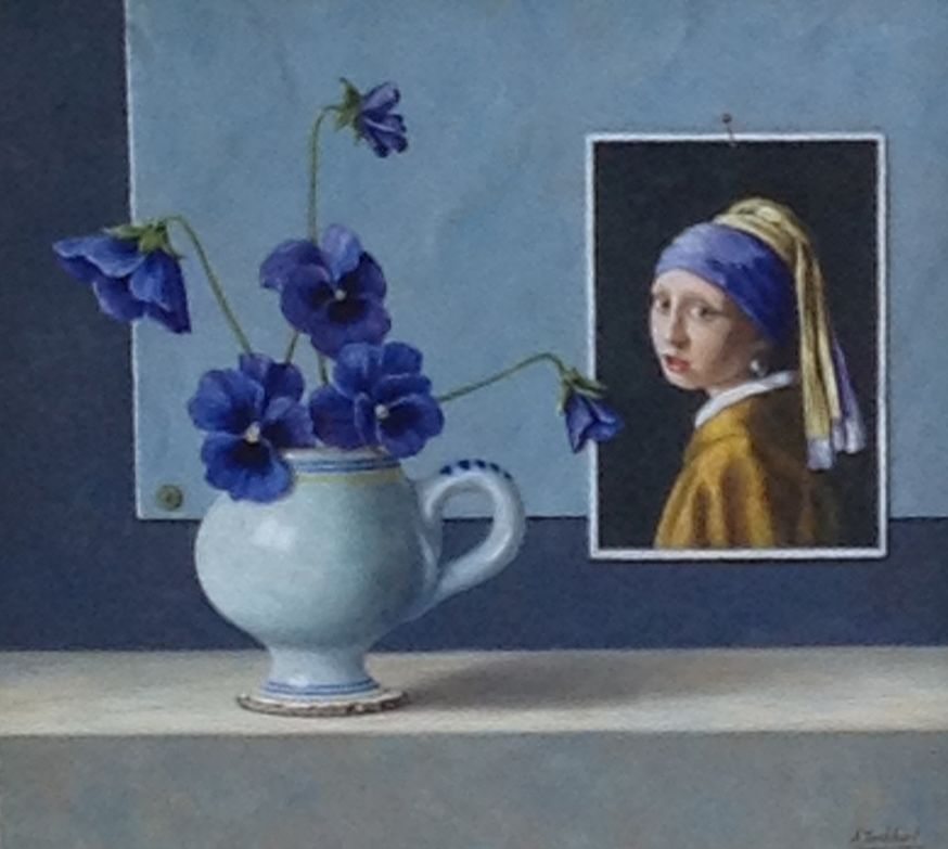 B541 Annelies Jonkhart Meisje met viooltjes olie op paneel, 27 x 25 cm r.o. gesigneerd, schilderijen te koop, kunst te koop, galerie wijdemeren breukeleveen