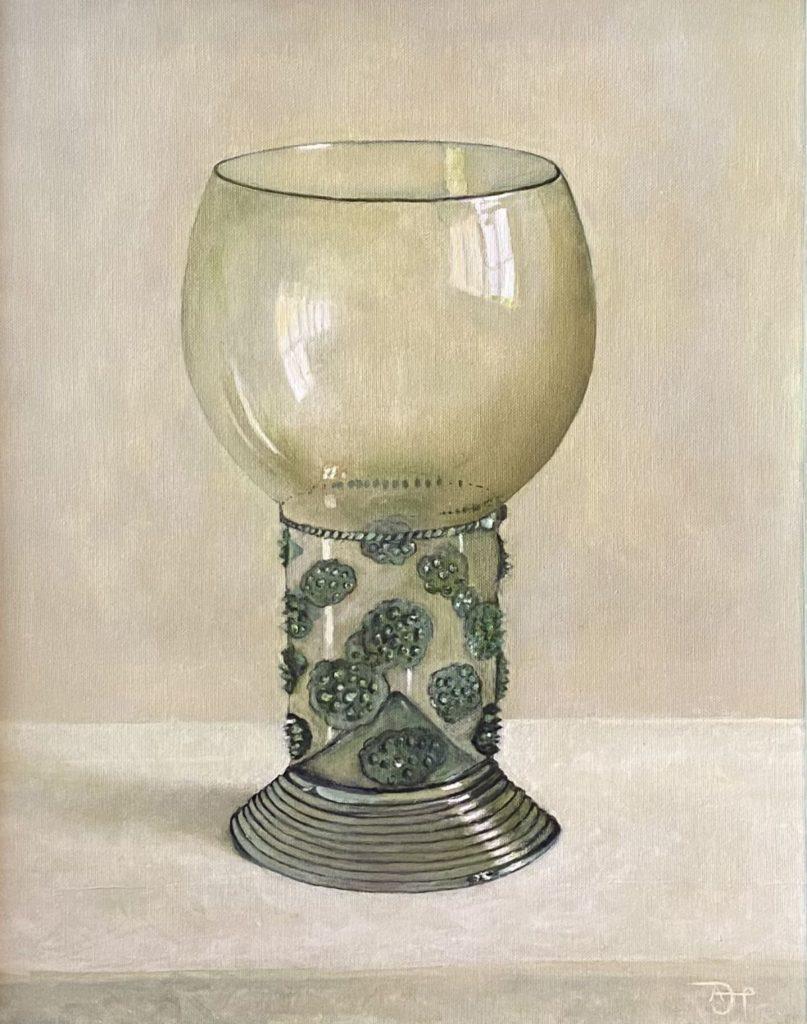 Kunst te koop bij Galerie Wijdemeren door kunstschilder Arnold Pieterse Stilleven met roemer olie op doek, 40 x 50 cm rechtsonder gemonogrammeerd