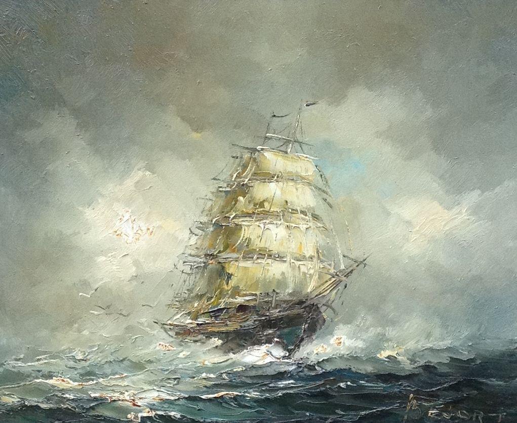 Kunstenaar John Bevort B1062 John Bevort Zeilschip op zee, olie op doek rechtsonder gesigneerd verkocht