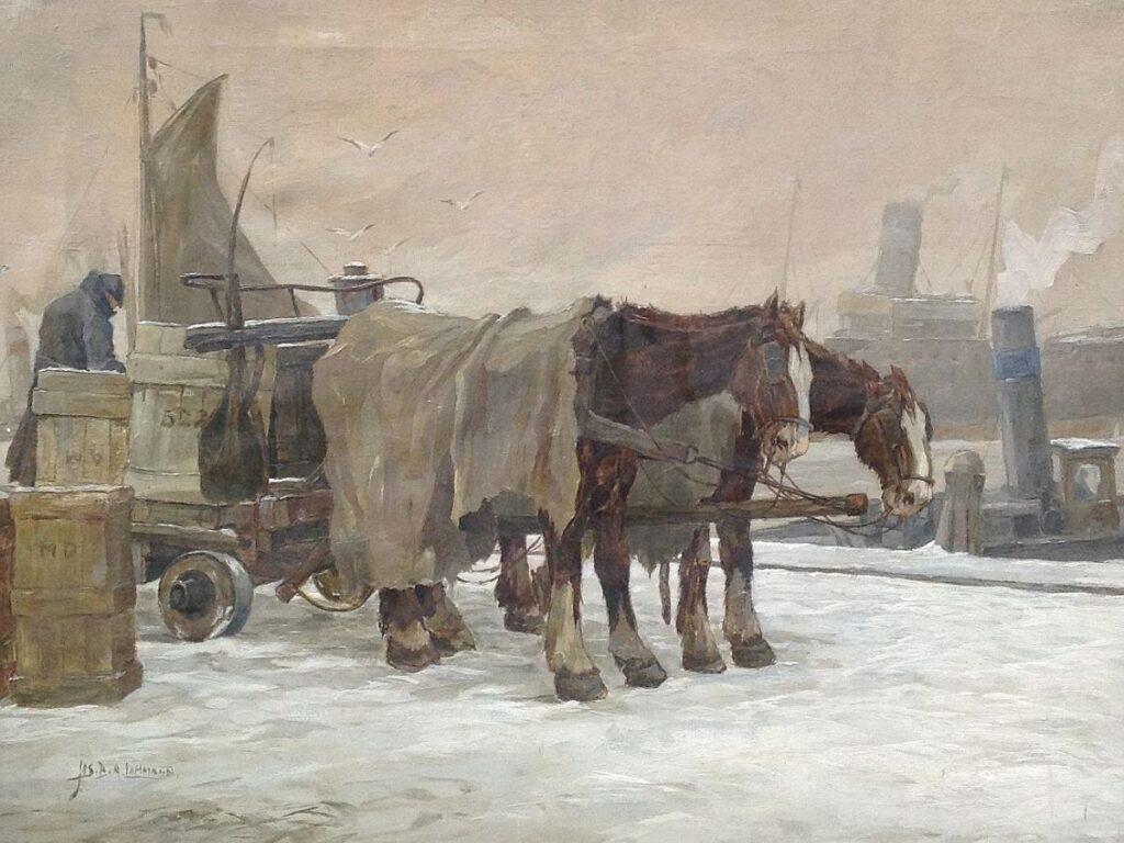 schilderijen te koop van kunstschilder, J.B.A. Lohmann paard en wagen in winters stadsgezicht olie op doek, doekmaat 50 x 65 cm linksonder gesigneerd, expositie, galerie wijdemeren breukeleveen