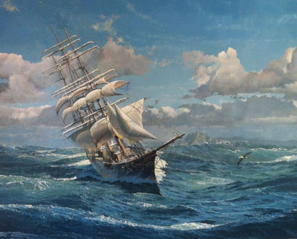 Kunstenaar Maarten Platje B1104, Maarten Platje schip op zee
