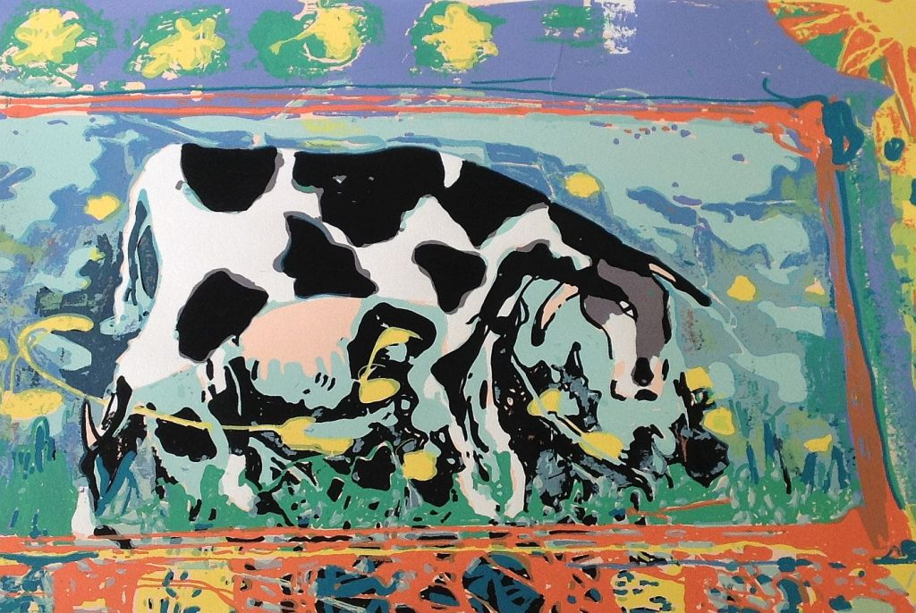 B1116 Emeke Buitelaar Zeefdruk, beeldmaat 40 x 60 cm, papiermaat 56 x 76 cm oplage 23 uit 100 rechtsonder gesigneerd en gedateerd '92, schilderijen te koop bij Galerie Wijdemeren Breukeleveen