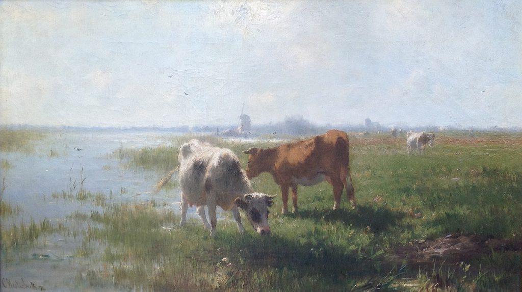 Kunstenaar Cornelis Westerbeek B115 Cornelis Westerbeek Koeien bij sloot olie op doek, 37 x 63 cm verkocht