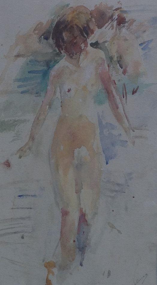 Kunst te koop bij Galerie Wijdemeren van kunstschilder van Dulmen Krumpelman Naakt aquarel op papier, 47 x 28 cm rechtsonder gesigneerd
