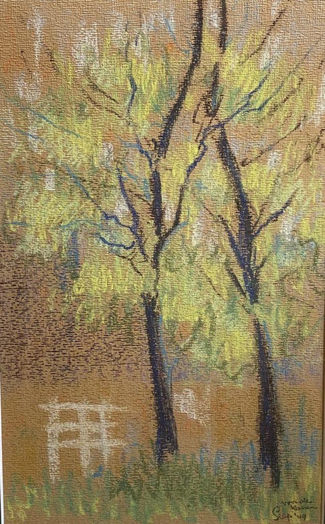 Kunst te koop bij Galerie Wijdemeren van kunstschilder Siep van den Berg Twee berken pastel op papier, 49,5 x 29 cm rechtsonder gesigneerd en gedateerd 49