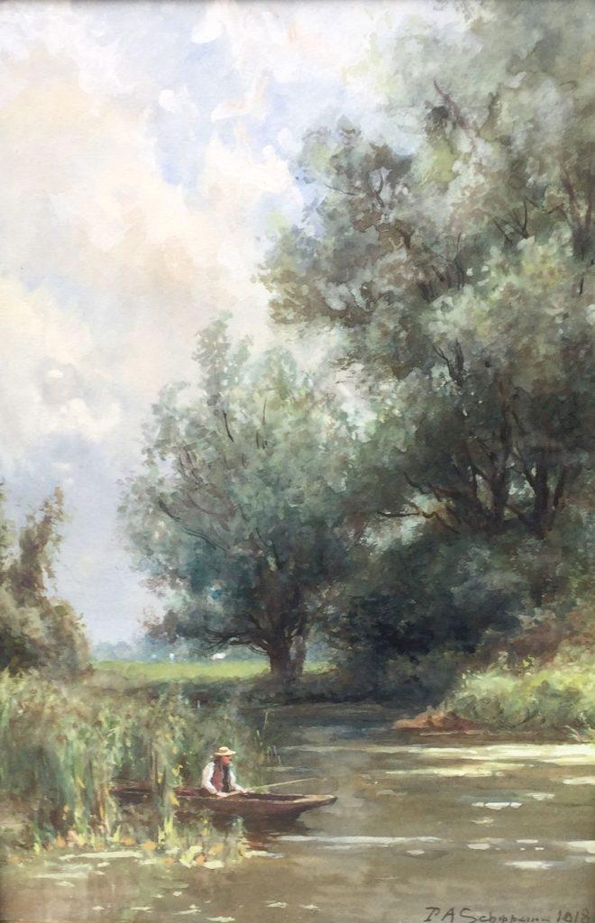 Schilderijen te koop van kunstschilder P.A. Schipperus Aan de plas Gemengde techniek op papier (aquarel en gouache), beeldmaat 33.5 x 23 cm rechtsonder gesigneerd en gedateerd 1918, Expositie Galerie Wijdemeren Breukeleveen
