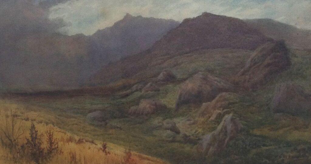 Kunstenaar John Cuthbert Salmon B1221W, JC Salmon Schotse Hooglanden, beeldmaat: 23 x 46 cm Aquarel