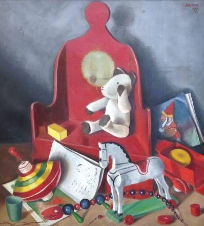 Kunstenaar Jan Bor B1225, Jan Bor Stilleven met speelgoed Olie op doek, 1951