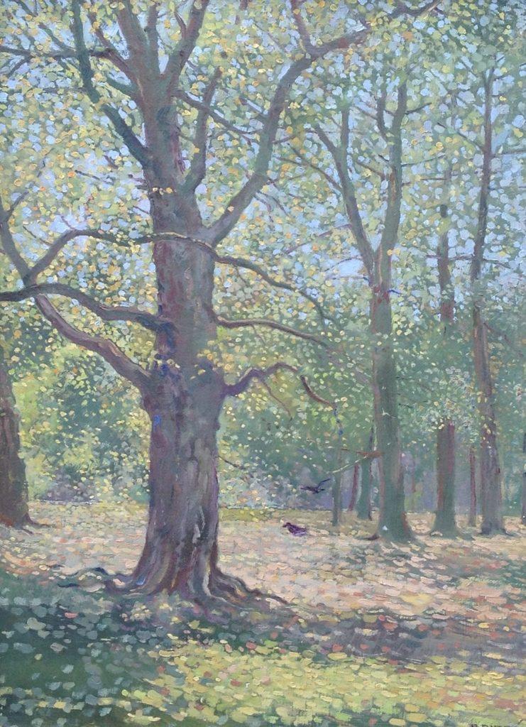 Schilderijen te koop, kunstschilder Johan Briede, B1236-3, Briedé, Spanderswoud Hilversum Olieverf doek, 40.5 x 30.5 cm, 1945, Kunst, Expositie, Galerie Wijdemeren Breukeleveen