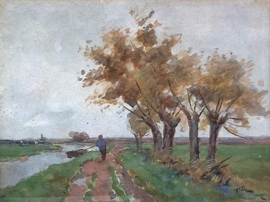 Kunst te koop bij galerie Wijdemeren van kunstschilder Bernard A. van Beek Boer op boerenlandweg met praam, zicht op kerk Kortenhoef aquarel op papier, 30 x 40 cm rechtsonder gesigneerd