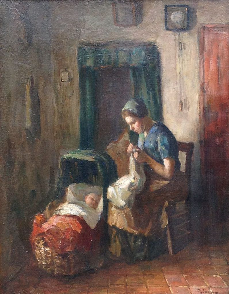 B1326 Baruch de Leao Laguna Interieur olie op doek, 47 x 36 cm. r.o. gesigneerd, te koop bij galerie wijdemeren Breukeleveen