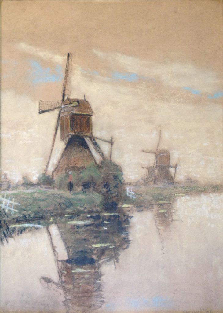Kunst te koop bij Galerie Wijdemeren van kunstschilder Ger van Vliet Molens aan de vaart pastel op papier, 53 x 37 cm