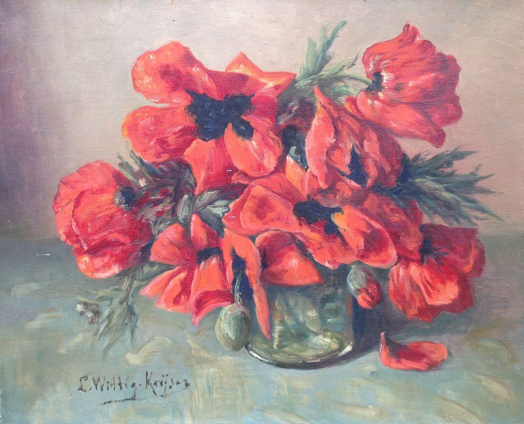 Schilderijen te koop van kunstschilder Lucie Wittig Keijzer Klaprozen olieverf op doek, 40 x 50 cm rechtsonder gesigneerd, Expositie Galerie Wijdemeren Breukeleveen