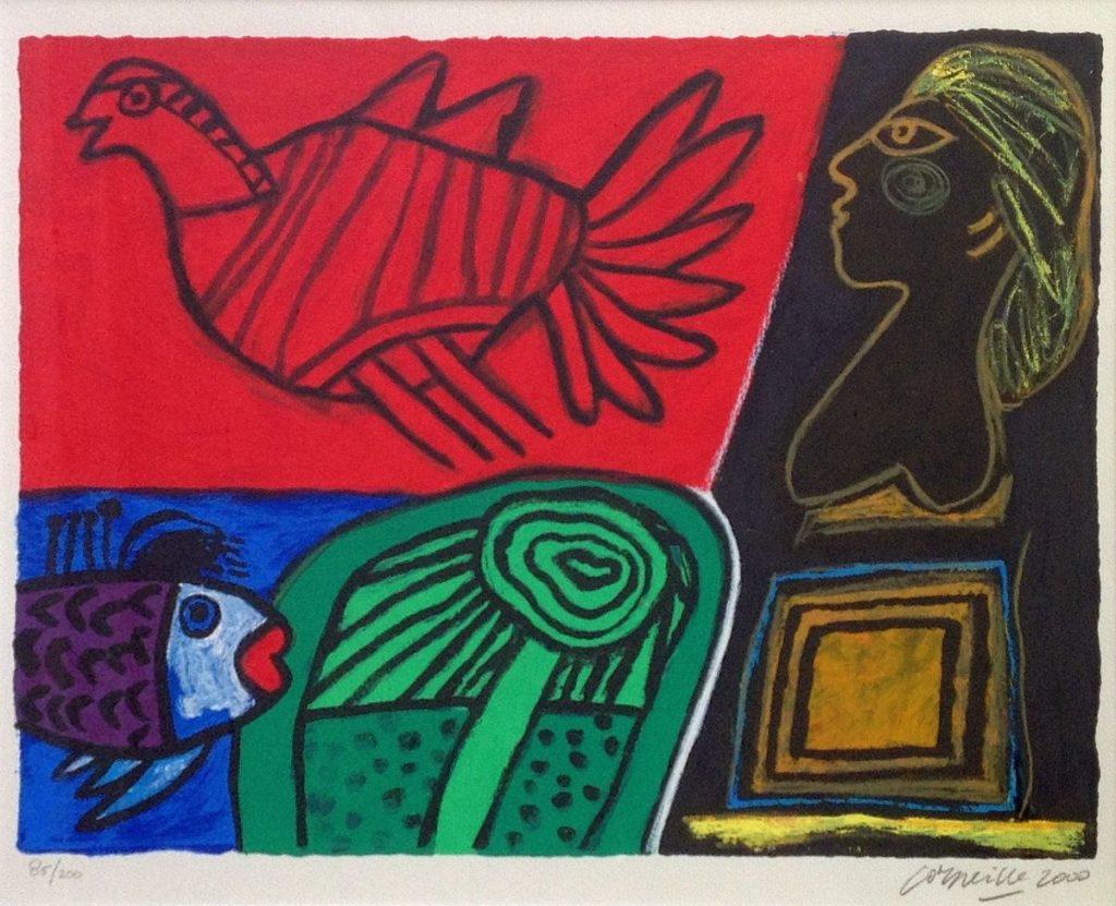 Schilderijen te koop van kunstschilder Corneille litho op papier, beeldmaat 34.5 x 49.5 cm oplage 85 van 200 rechtsonder gesigneerd, Expositie Galerie Wijdemeren Breukeleveen