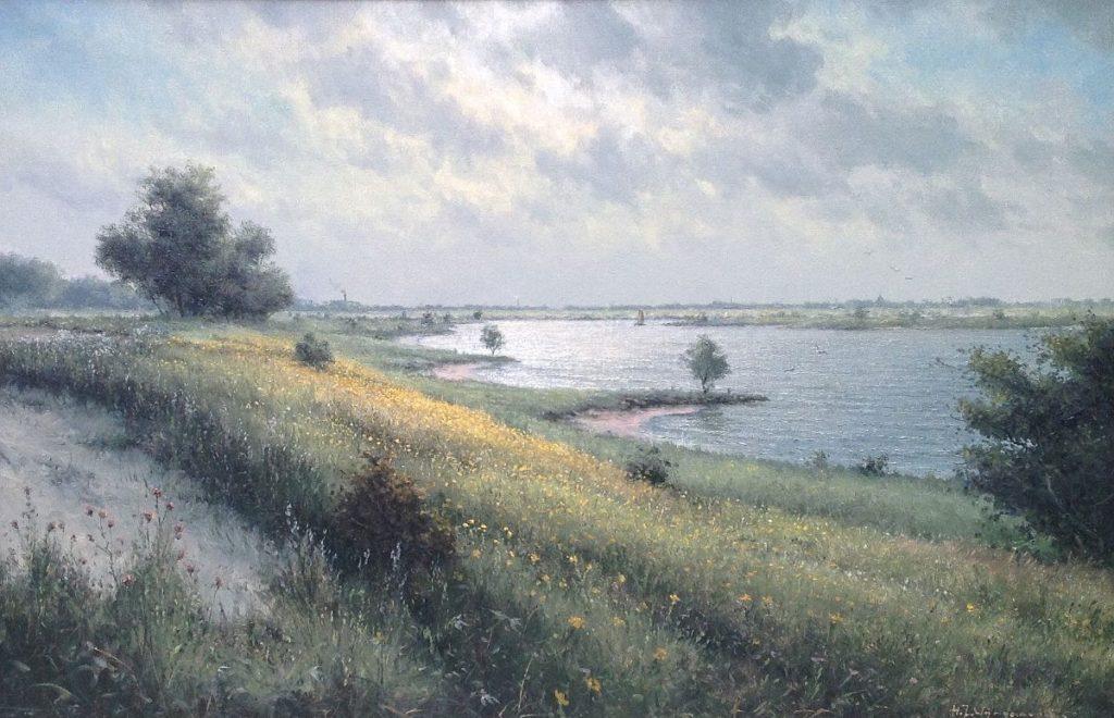 Schilderijen te koop van kunstschilder HJ Wijngaard riviermonding in de lente olie op doek, gesigneerd, Expositie Galerie Wijdemeren Breukeleveen