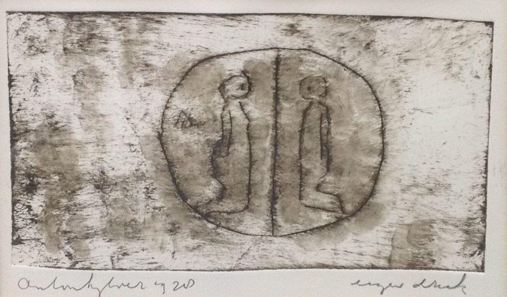 Kunst te koop bij Galerie Wijdemeren van kunstschilder Anton Heyboer Twee figuren ets, beeldmaat 22.5 x 32 cm linksonder gesigneerd, eigen druk