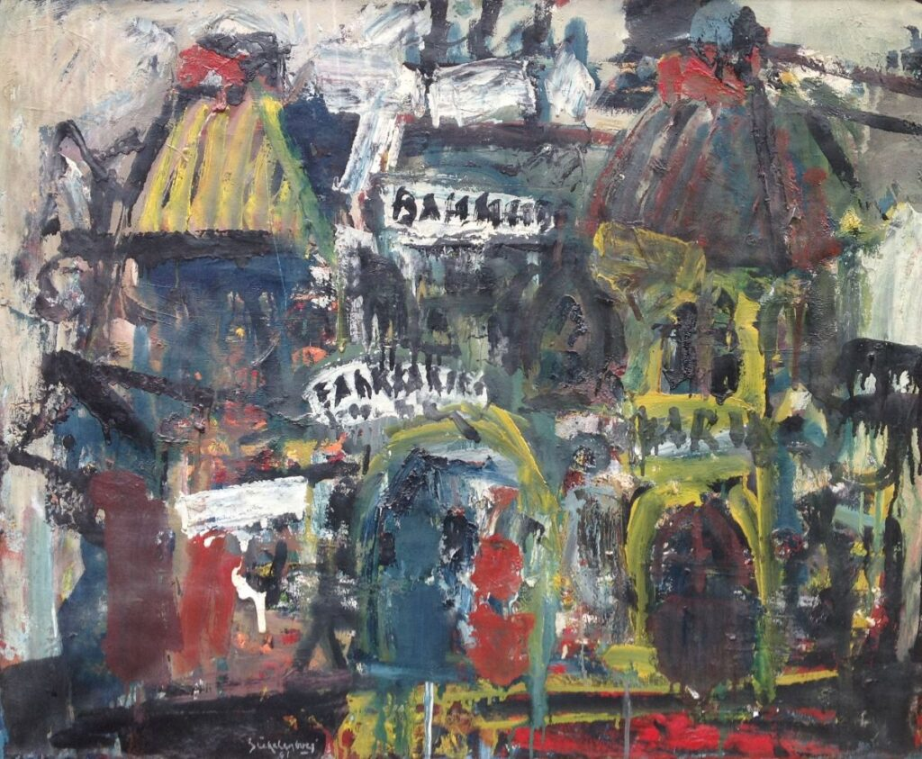 Kunstenaar Jan Stekelenburg B1425-2 J. Stekelenburg olie op doek, doekmaat 65 x 80 cm linksonder gesigneerd verkocht
