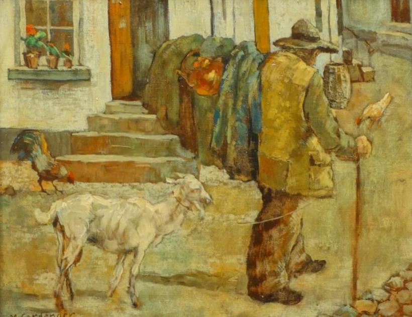 Kunstenaar M. Cortenaer B1437, M. Cortenaer 'Boer met geit bewerkt' Olie op doek Beeldmaat: 40 cm x 50 cm Verkocht