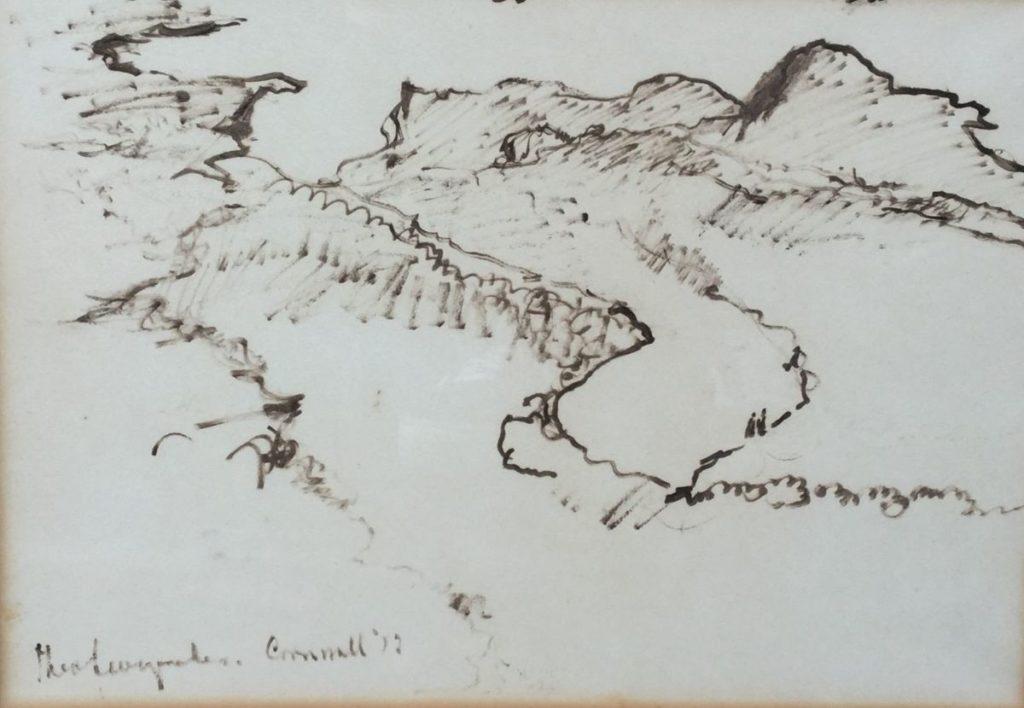 Schilderijen te koop van kunstschilder Theo Swagemakers Cornwell inkttekening in sepia, 24 x 34 cm linksonder gesigneerd gedateerd, Expositie Galerie Wijdemeren Breukeleveen