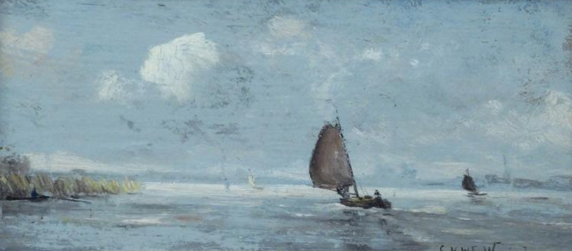 Kunstenaar C.A. van Waning B1454, CNW van Waning bootje op rivier, 15 x 32 cm