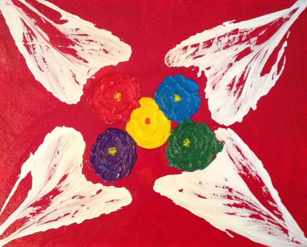 Kunstenaar Ziba Roosta B1581-7, Ziba Roosta bloemmotieven acryl op doek, 24 x 30 cm
