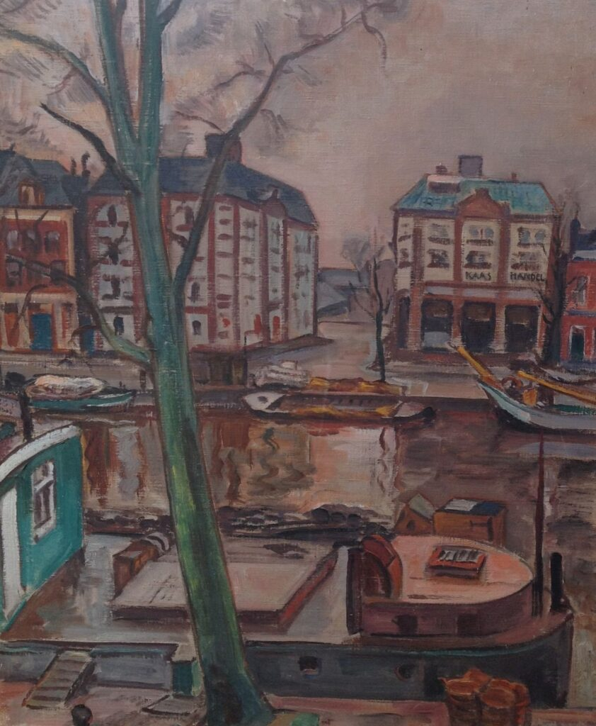 Kunstenaar Matthieu Wiegman B1584, Matthieu Wiegman Willemskade Leeuwarden olie op doek, 73 x 60 cm particuliere collectie