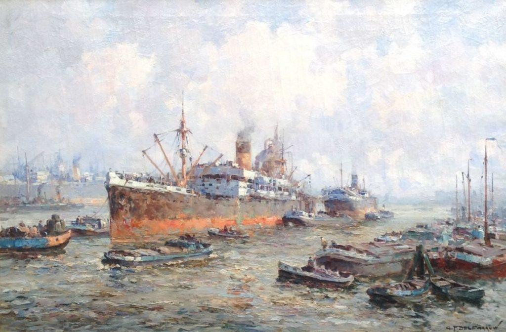 Schilderijen te koop van kunstschilder G.J. Delfgaauw Rotterdamse haven olie op doek, gesigneerd, Expositie Galerie Wijdemeren Breukeleveen