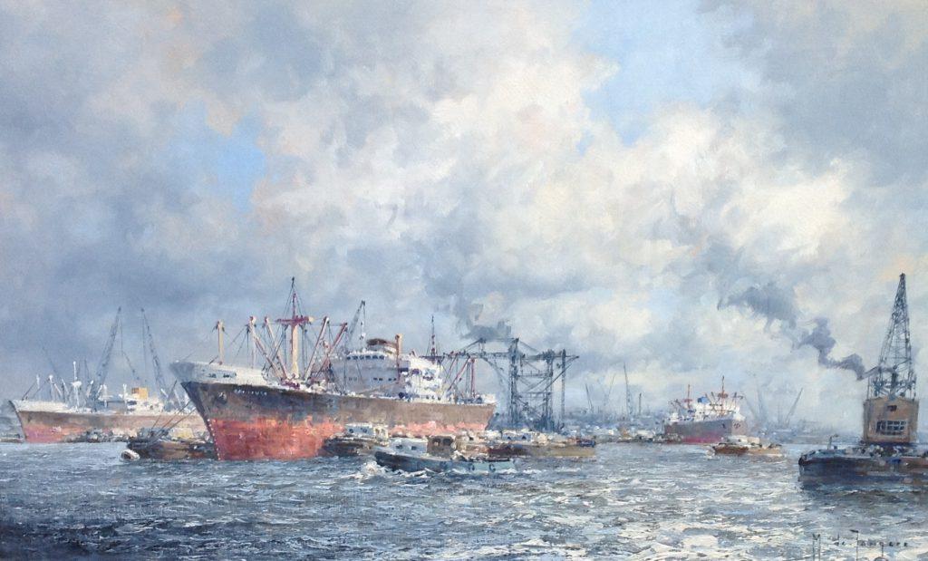 Schilderijen te koop van kunstschilder MJ de Jongere Haven Rotterdam olie op doek, gesigneerd, Expositie Galerie Wijdemeren Breukeleveen