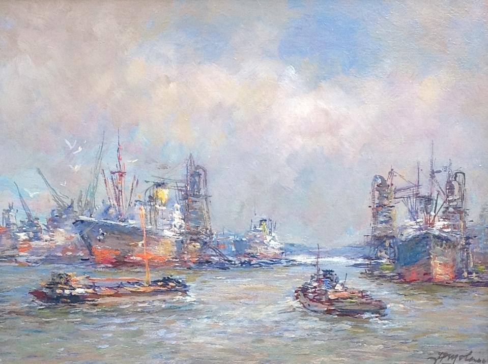 Kunstenaar Johannes Petrus Molenaar B1601-1, J.P. Molenaar Bedrijvigheid in de haven olie op doek, 30 x 40 cm r.o. gesigneerd