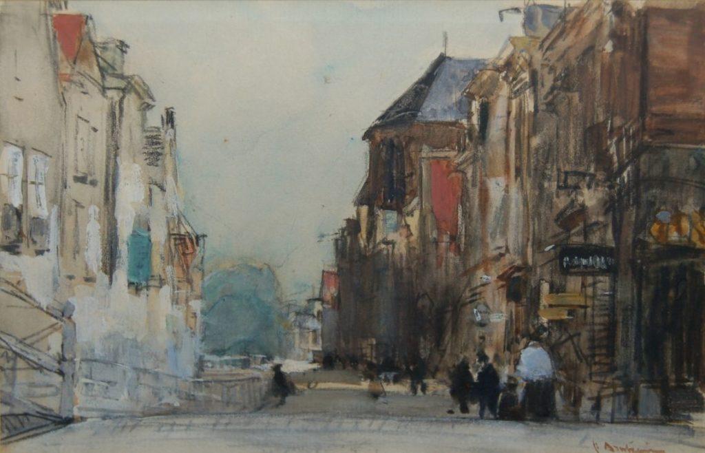 Kunstenaar Floris Arntzenius B1624 Floris Arntzenius stadsgezicht met figuren aquarel, gesigneerd verkocht