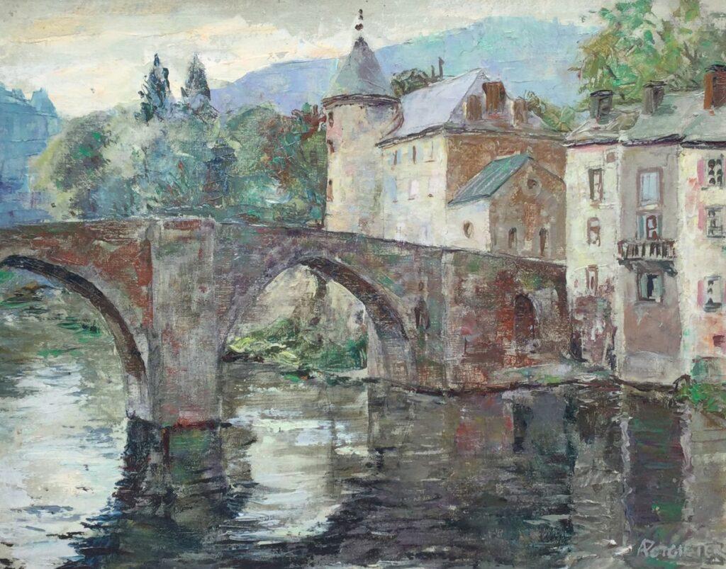 Schilderijen te koop van kunstschilder Adam Potgieter Oude brug in Brassac, Frankrijk marouflé, 40,5 x 50,5 cm rechtsonder gesigneerd, Expositie Galerie Wijdemeren Breukeleveen