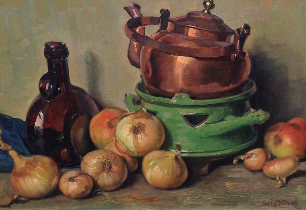 Kunstenaar Frits Hubeek B1663-2 Frits Hubeek stilleven met koperen kan en uien olie op doek 34,5 x 47,5 cm rechtsonder gesigneerd verkocht