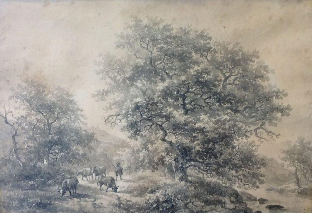 Kunstenaar Willem Roelofs B1673, W. Roelofs Koeien onder de bomen sepia, l.o. gesigneerd