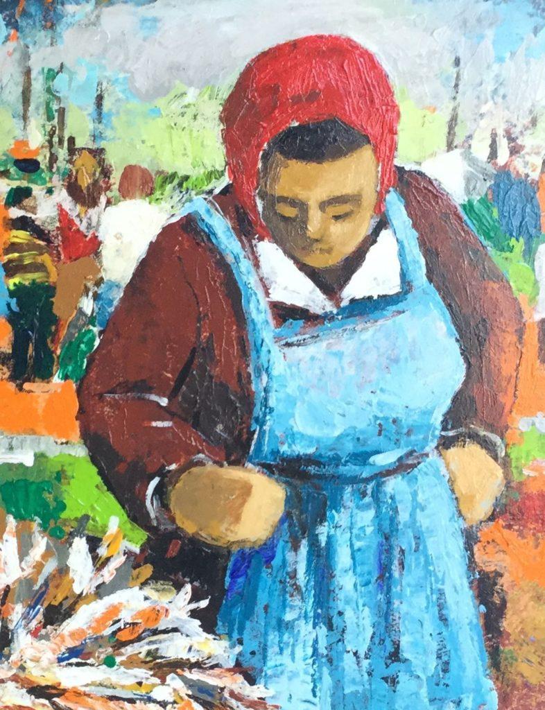 Schilderijen te koop van kunstschilder Jos Fred Smith Dame op de bloemenmarkt olie op paneel, beeldmaat 28 x 22 cm ongesigneerd, Expositie Galerie Wijdemeren Breukeleveen