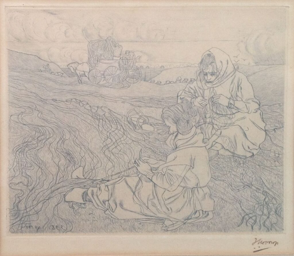 Kunstenaar Jan Toorop B1684, Jan Toorop ets, nettenboetsters beeldmaat 16 x 18,5 cm Gesigneerd en gedateerd in de plaat, linksonder,