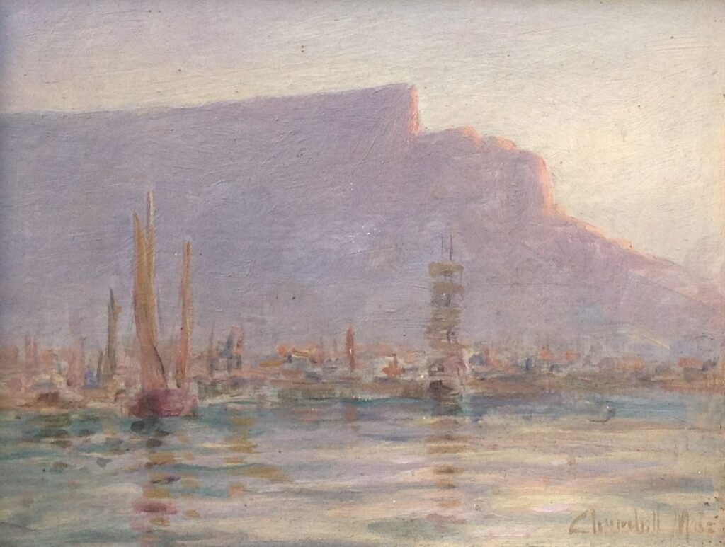 Kunstenaar John Churchill Chase B16, Edward Churchill MACE Havengezicht olie op paneel, 15 x 20 cm verkocht