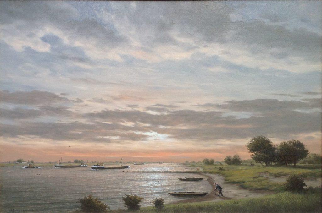 Schilderijen te koop van kunstschilder HJ Wijngaard olie op doek, doekmaat 60,5 x 90,5 cm linkonder gesigneerd HJ Wijngaard, Expositie Galerie Wijdemeren Breukeleveen
