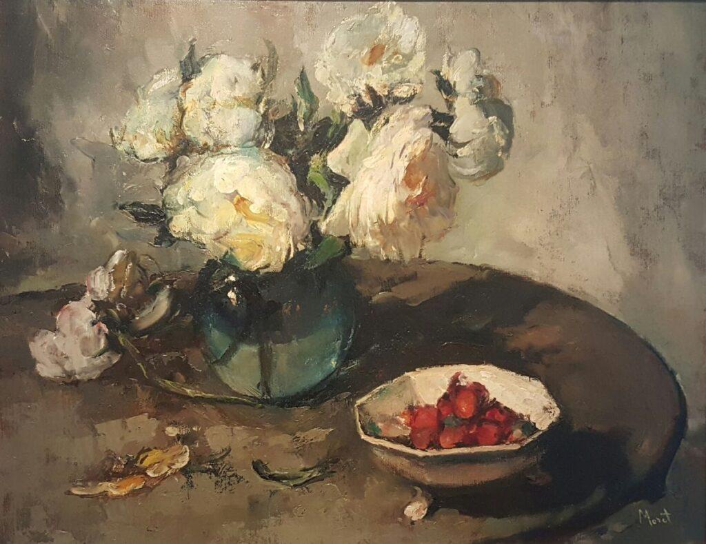 Kunstenaar Christine Moret B1705, Christine Moret Stilleven met bloemen olieverf op doek, 48,5 x 62,5 cm r.o. gesigneerd