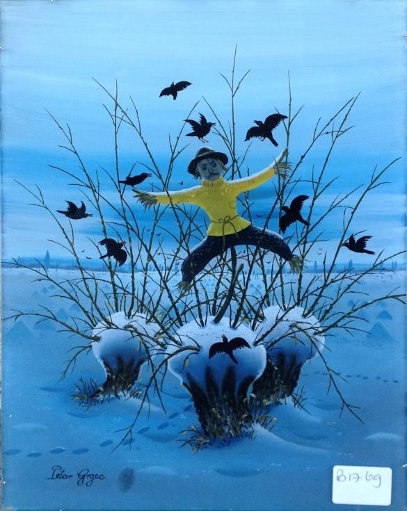 Kunstenaar Petar Grgec B1769, Petar Grgec glasschildering, 30 x 22,5 cm linksonder gesigneerd 'Petar Grgec' en met vingerafdruk verkocht